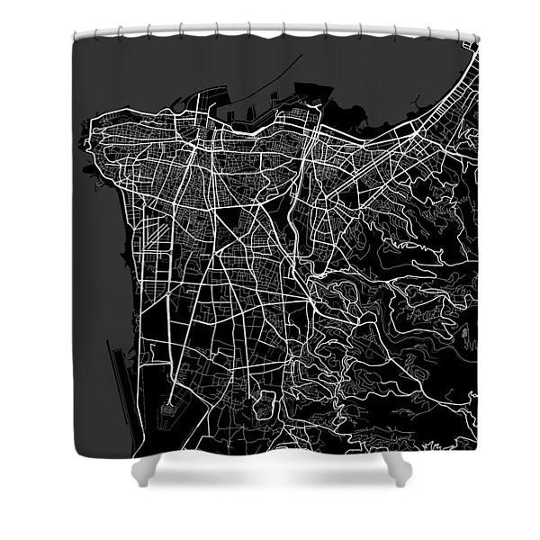 Beirut Lebanon Dark Map Shower Curtain