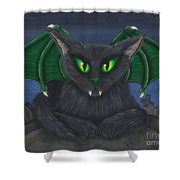 Bela Vampire Cat Shower Curtain