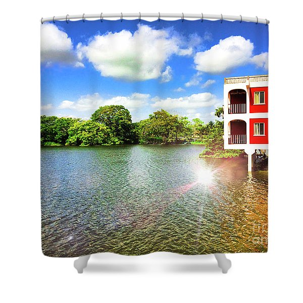 Belize River House Reflection Shower Curtain