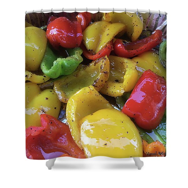 Shower Curtain featuring the digital art Bell Peppers Original Iphone Photo by Visual Artist Frank Bonilla