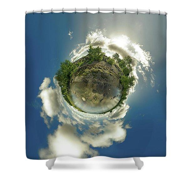 Bell Slip Sunrise - Tiny Planet Shower Curtain