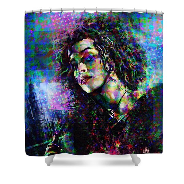Bellatrix Lestrange Halftone Portrait Shower Curtain