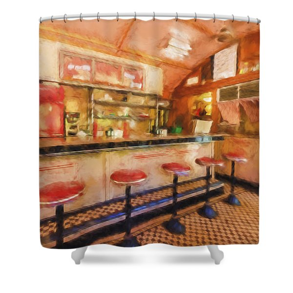 Shower Curtain featuring the photograph Bellows Falls Diner by Tom Singleton