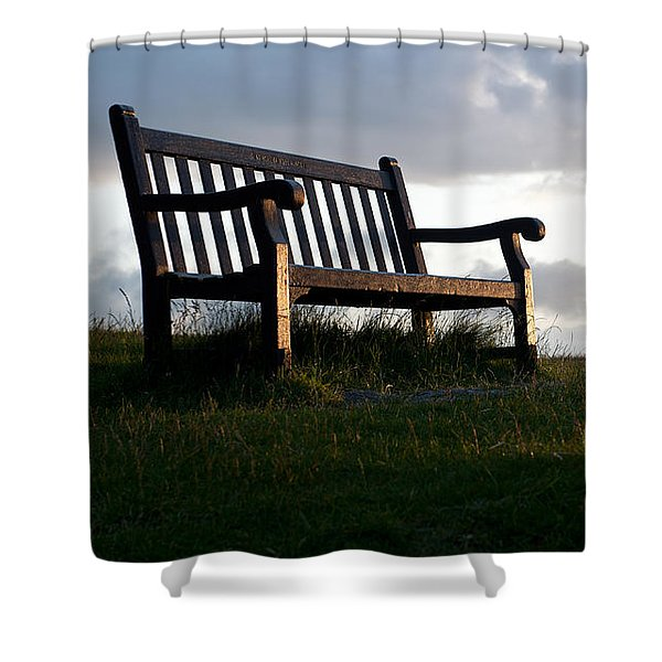 Bench At Sunset Shower Curtain