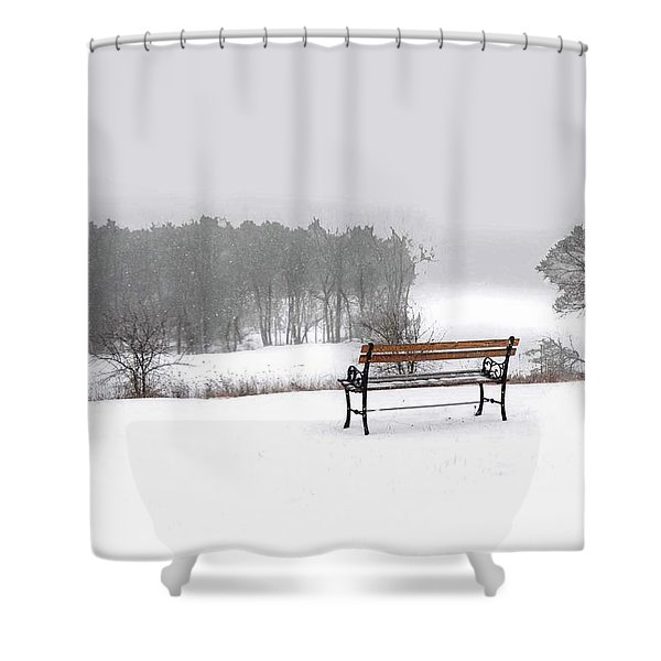 Bench In Snow Shower Curtain