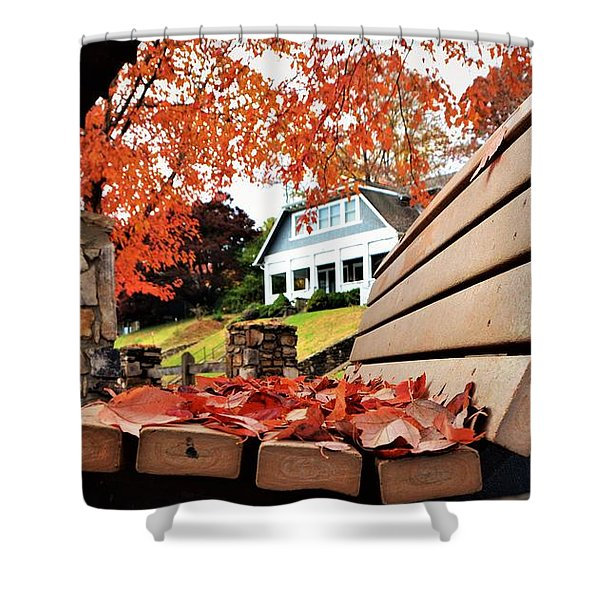 Bench Leaves Shower Curtain