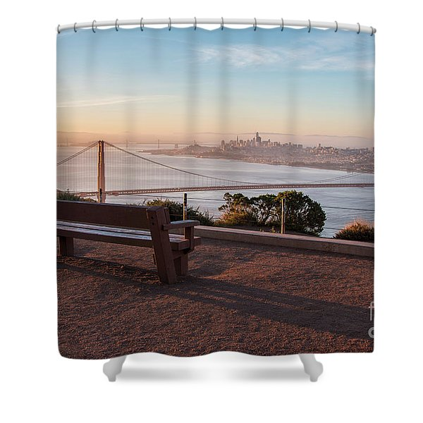 Bench Overlooking Downtown San Francisco And The Golden Gate Bri Shower Curtain