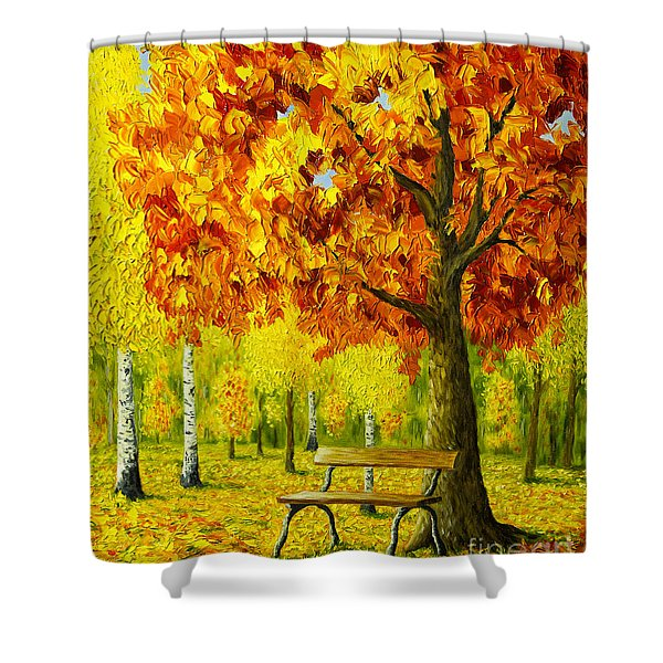 Bench Under The Maple Tree Shower Curtain