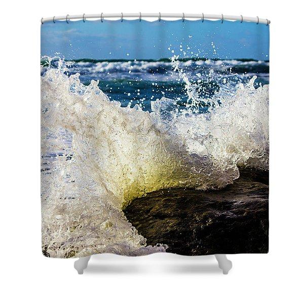Wave Bending Backwards Shower Curtain