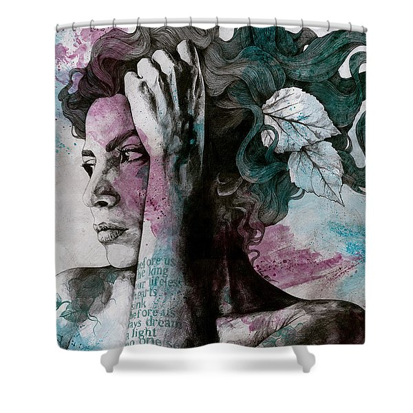 Beneath Broken Earth - Street Art Drawing, Woman With Leaves And Tattoos Shower Curtain