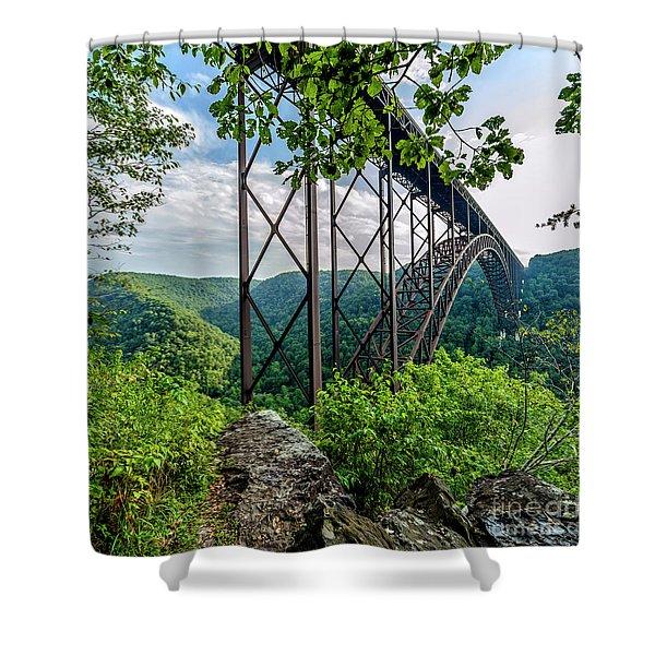 Beneath New River Gorge Bridge Shower Curtain