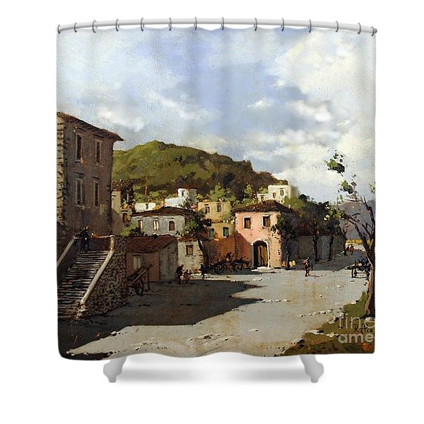 Shower Curtain featuring the painting Provincia Di Benevento-italy Small Town The Road Home by Rosario Piazza