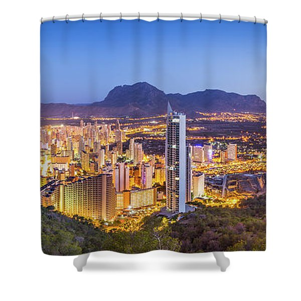 Benidorm At Sunrise, Spain. Shower Curtain