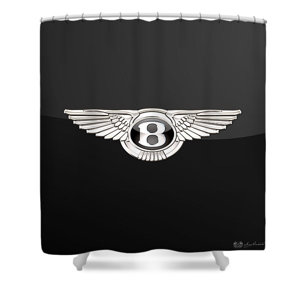 Bentley - 3 D Badge On Black Shower Curtain