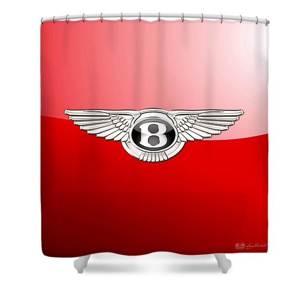 Bentley 3 D Badge On Red Shower Curtain