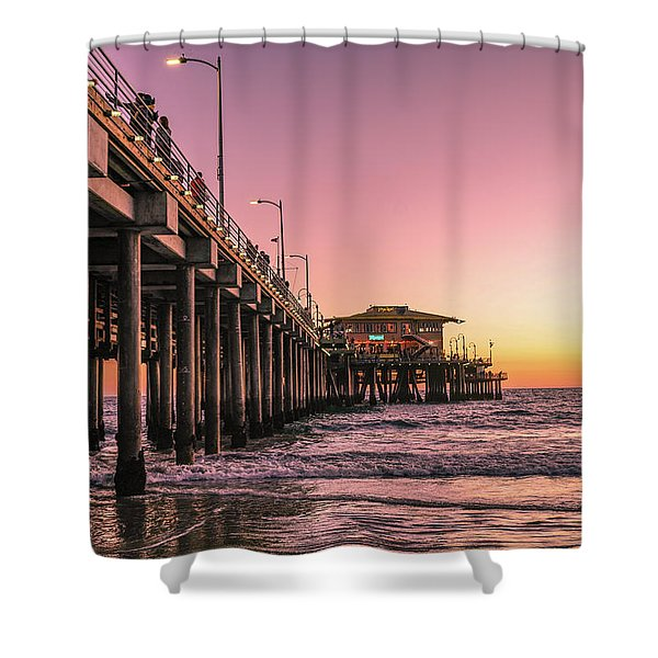 Shower Curtain featuring the photograph Beside The Pier By Mike-hope by Michael Hope