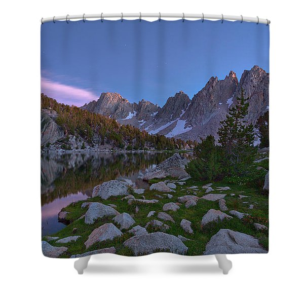 Between A Rock And A Soft Place Shower Curtain