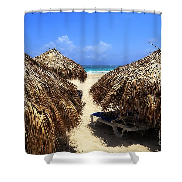 Between The Huts In Punta Cana Shower Curtain