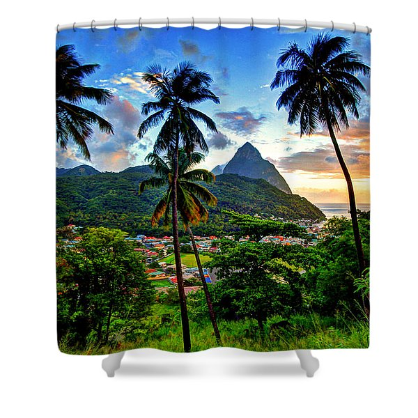 Between The Palm Trees Shower Curtain