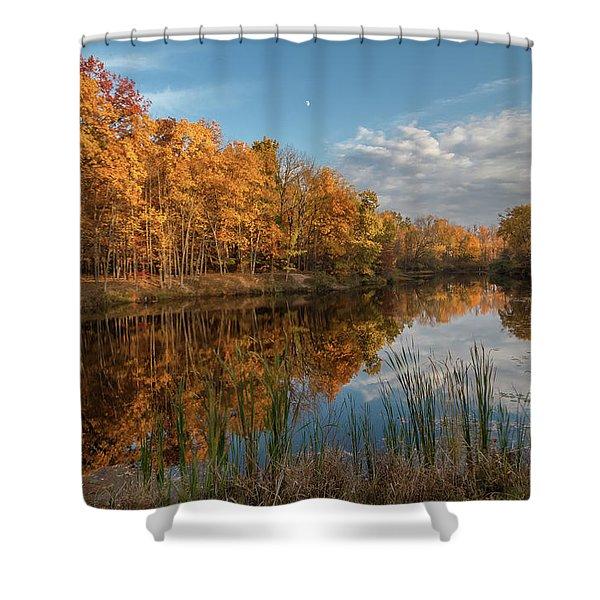 Beyer's Pond In Autumn Shower Curtain
