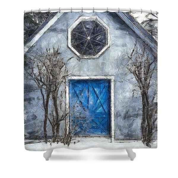 Beyond The Blue Door Pencil Shower Curtain