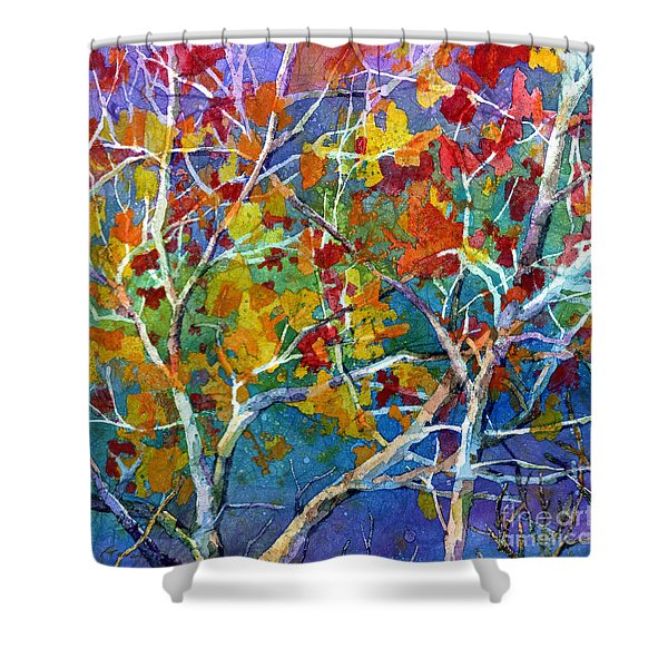Beyond The Woods - Orange Shower Curtain