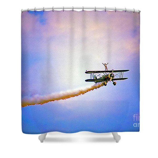 Bi-plane And Wing Walker Shower Curtain