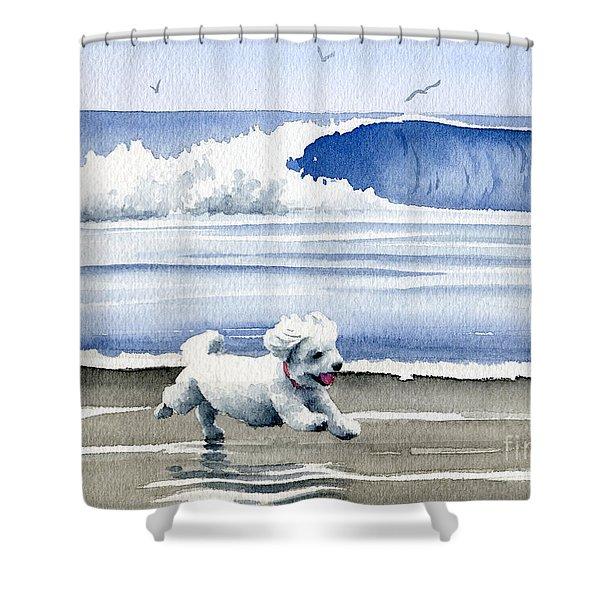Bichon Frise At The Beach Shower Curtain