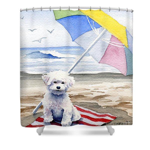 Bichon Frise At The Beach II Shower Curtain