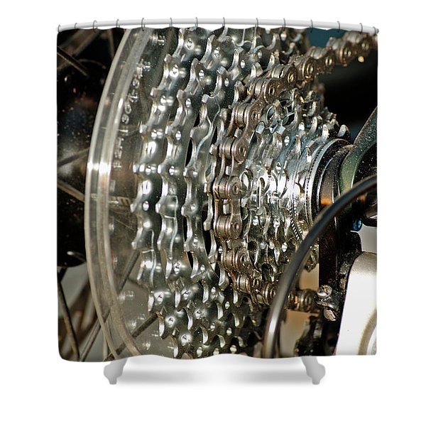 Bicycle Cog Wheel And Gears Shower Curtain