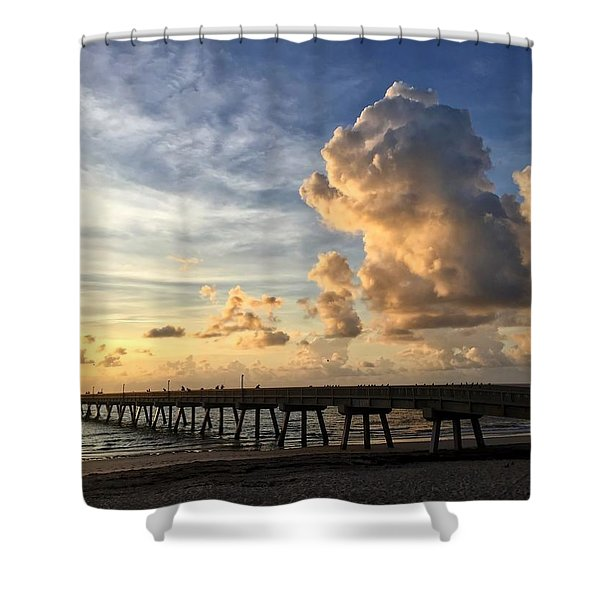 Big Cloud And The Pier, Shower Curtain