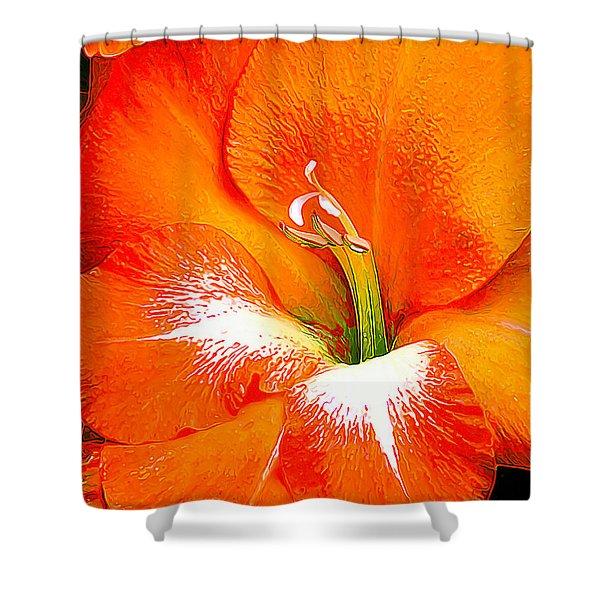 Big Glad In Bright Orange Shower Curtain