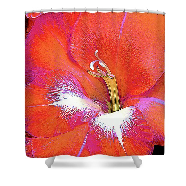 Big Glad In Orange And Fuchsia Shower Curtain