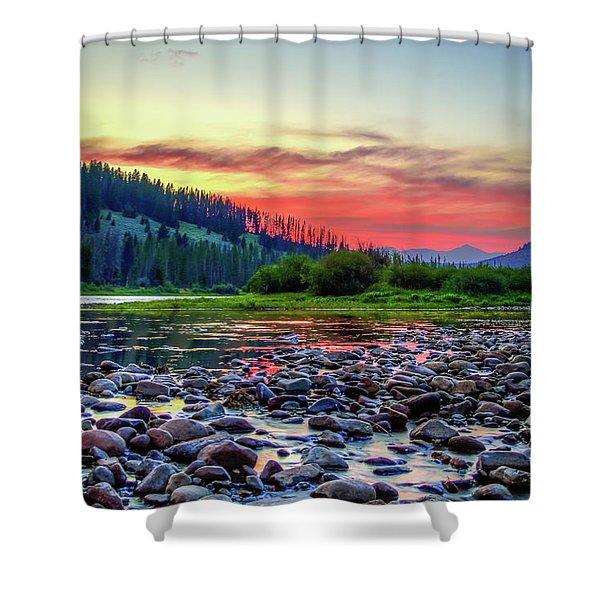 Big Hole River Sunset Shower Curtain