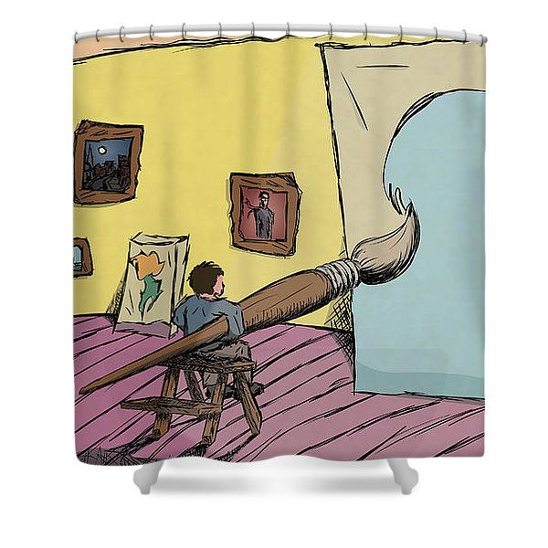 Shower Curtain featuring the digital art Big Ideas by Break The Silhouette