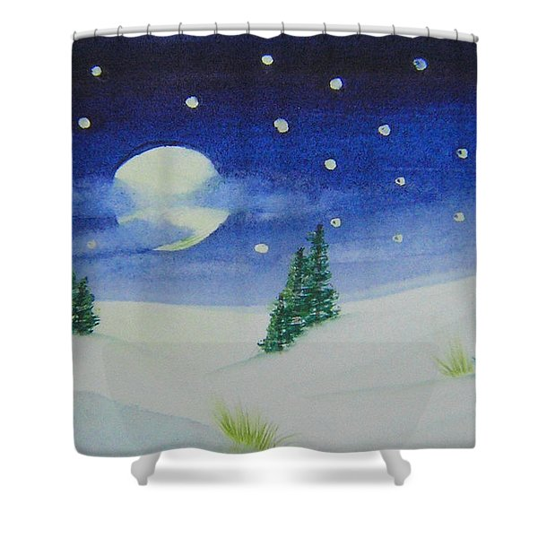 Big Moon Christmas Shower Curtain