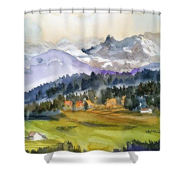 Big Mountain Sunset Shower Curtain