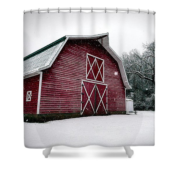 Big Red Barn In Snow Shower Curtain