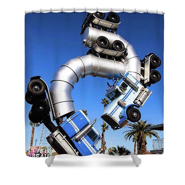 Big Rig Jig Balancing In Vegas Shower Curtain