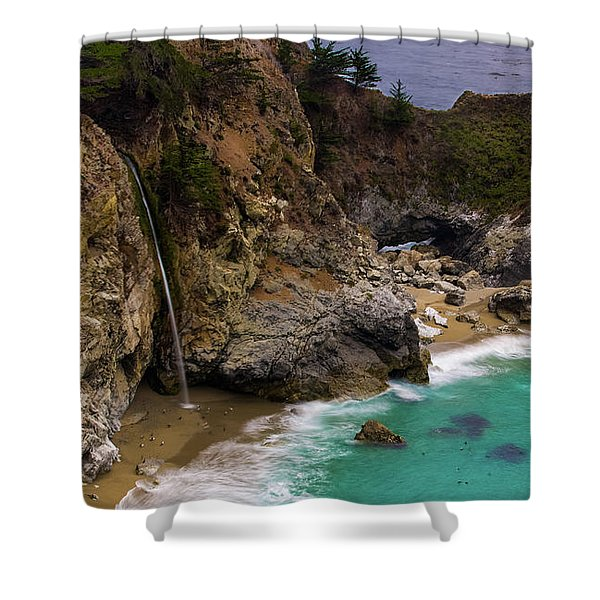 Big Sur Waterfall Shower Curtain