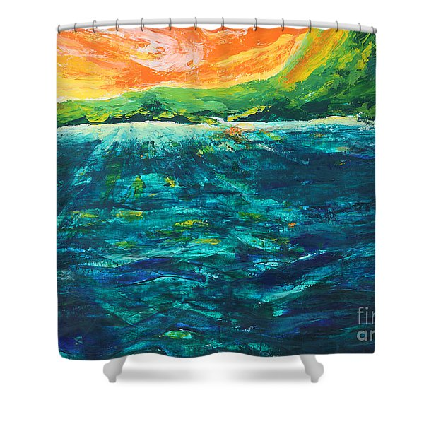 Big Tropical Wave Shower Curtain