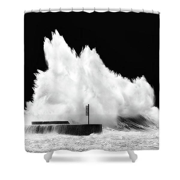 Big Wave Breaking On Breakwater Shower Curtain