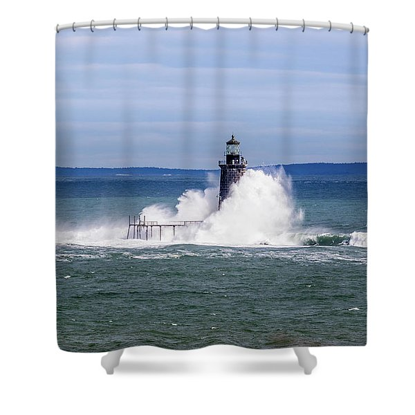 Big Wave Hits Ram Island Ledge Light Shower Curtain