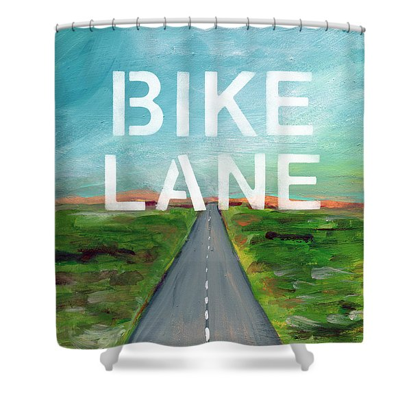 Bike Lane- Art By Linda Woods Shower Curtain