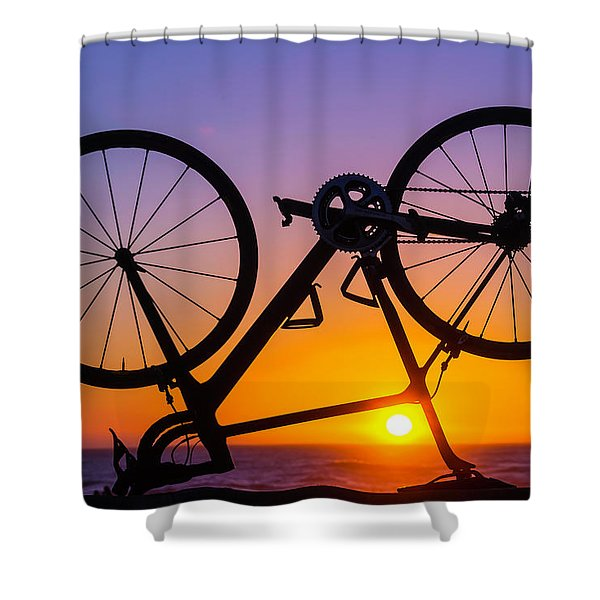 Bike On Seawall Shower Curtain
