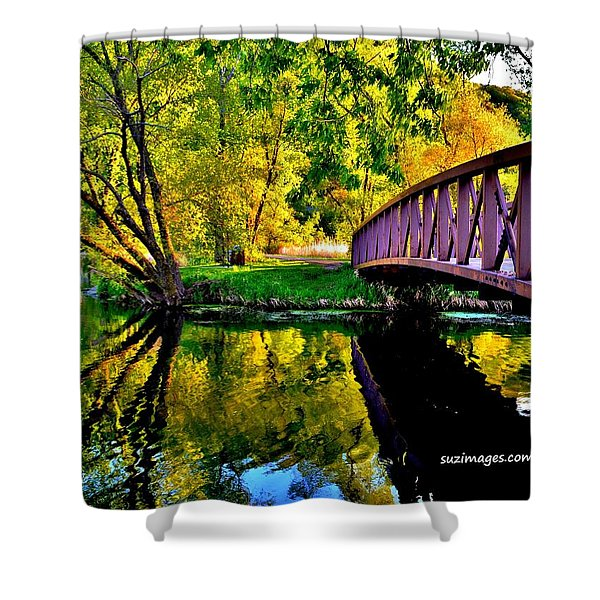 Bike Path Bridge Shower Curtain