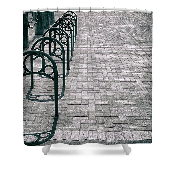 Shower Curtain featuring the photograph Bike Rack Square by Michael Hope