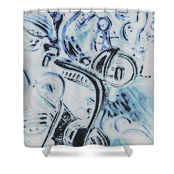 Bikes And Blue Cities Shower Curtain
