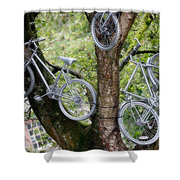Bikes In A Tree Shower Curtain