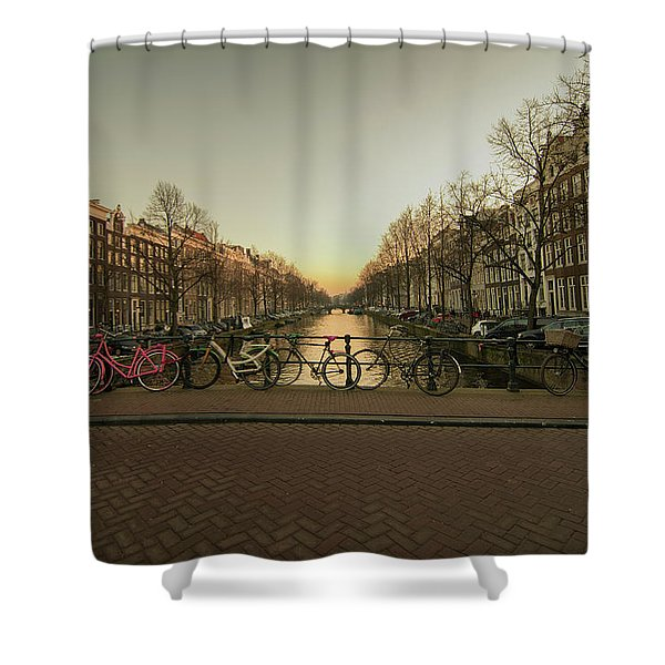 Bikes On The Canal Bridge Shower Curtain